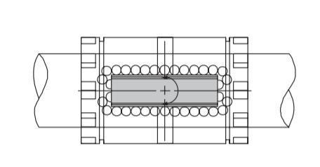 Conjunto em corte de eixo e rolamentos lineares